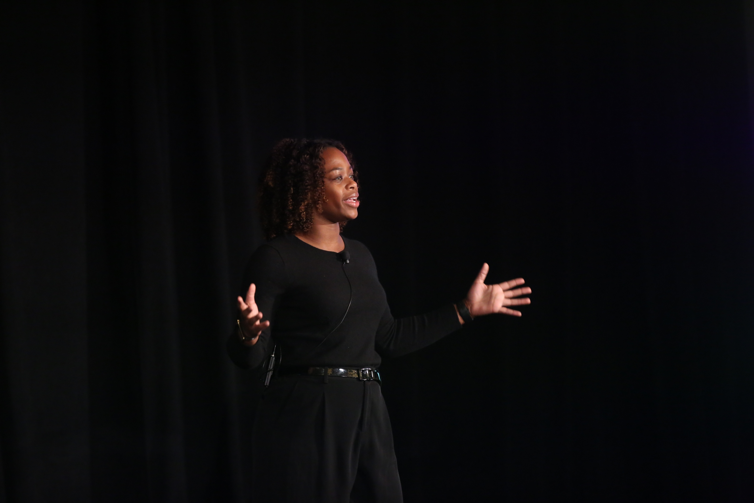Jessica Brathwaite presents on stage