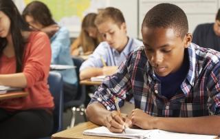 Students doing classwork in a developmental education classroom