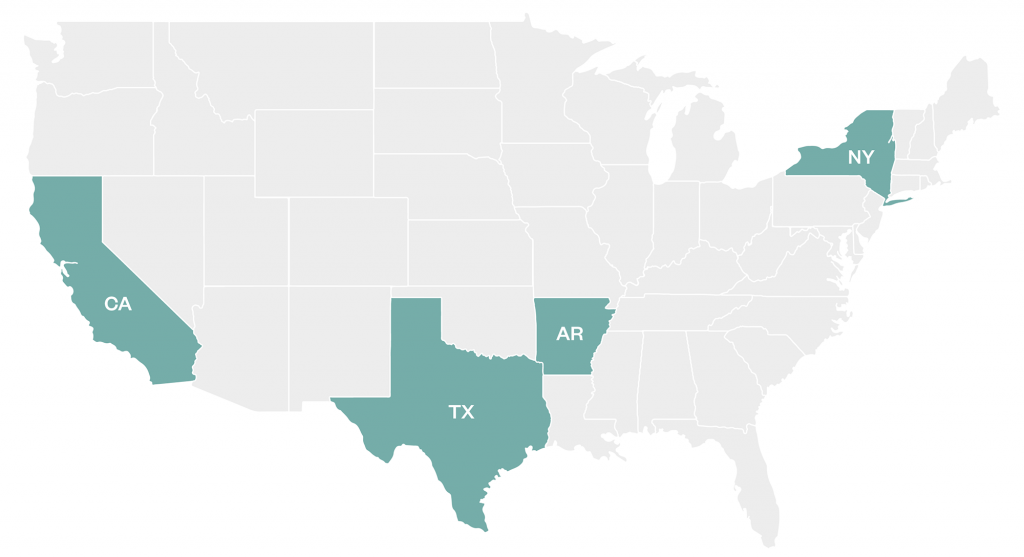 California, Texas, Arkansas, and New York