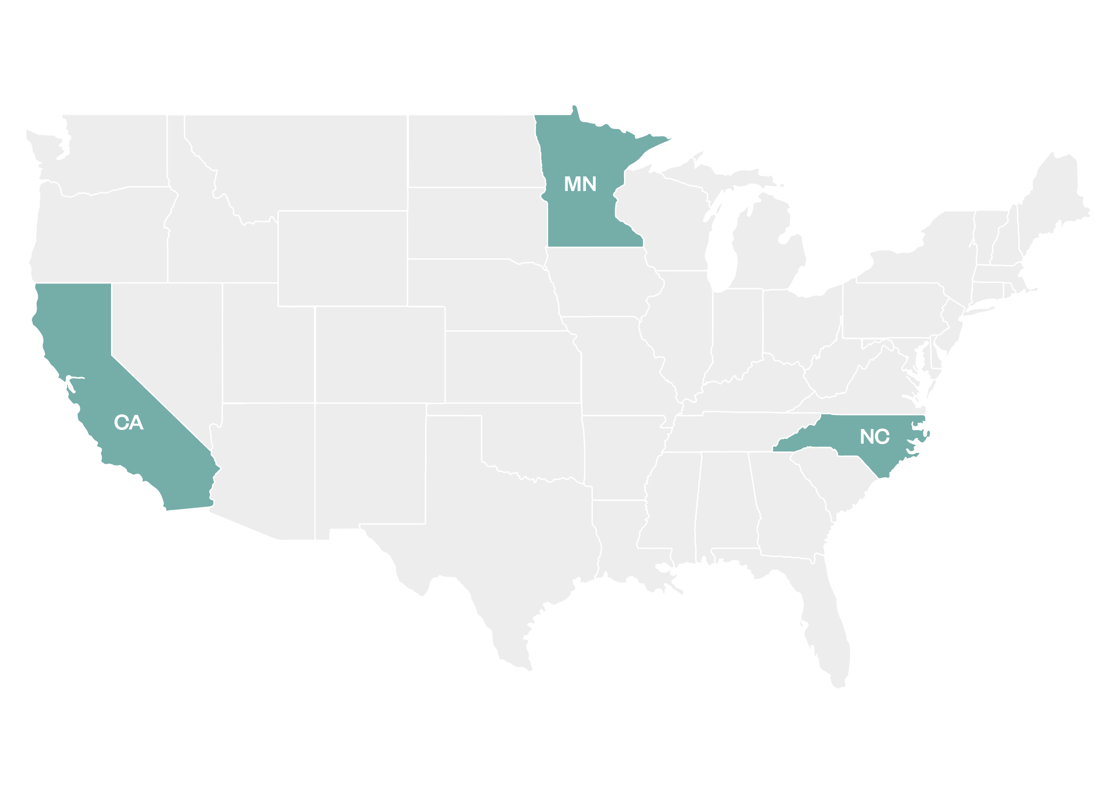 A United States map with California, Minnesota, and North Carolina highlighted