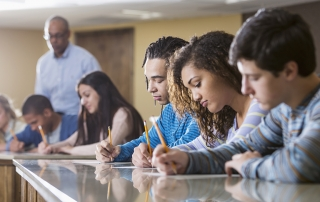 College students taking a test