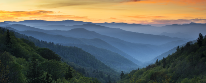 The sun sets over the Blue Ridge Mountains