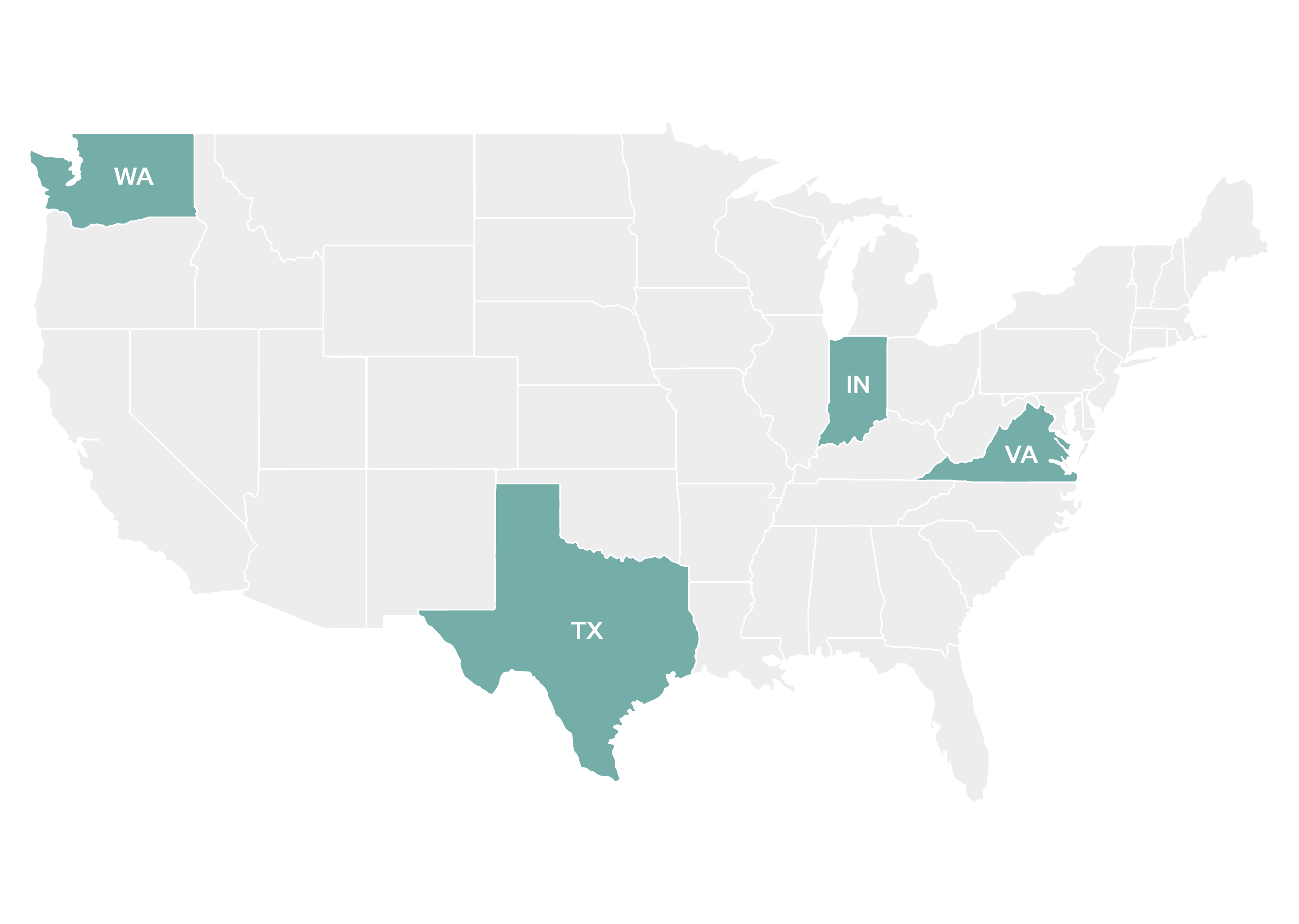 A map highlighting Washington, Texas, Indiana, and Virginia