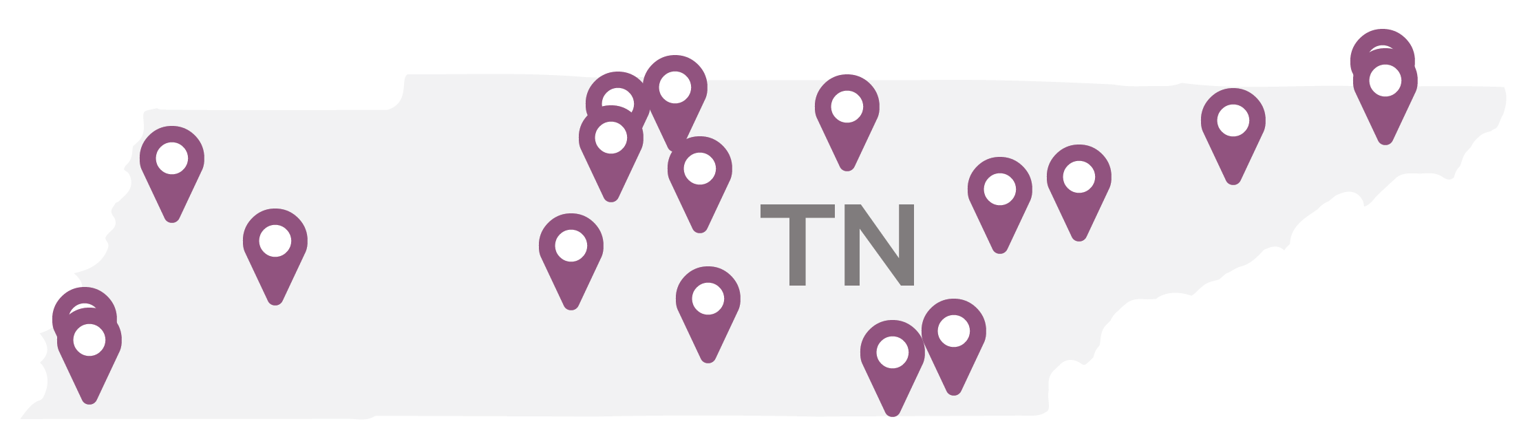 A map of Tennessee with purple flags marking the colleges in this study